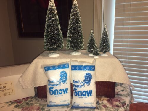 DEPT 56 VILLAGE FROSTED TOPIARY TREES (2), 3 SMALLER TREES, 2 BAGS OF SNOW