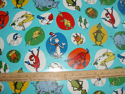 LAMINATED Cotton Fabric  Dr Seuss Characters on Blue Cat in the Hat Grinch (Dr Seuss Cat In The Hat Characters)