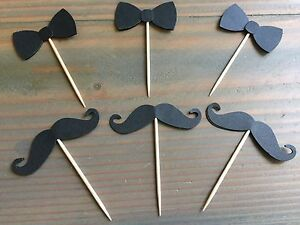 12 Mustache And Bow tie Cupcake Toppers, Little Man Baby Shower, Birthday Party