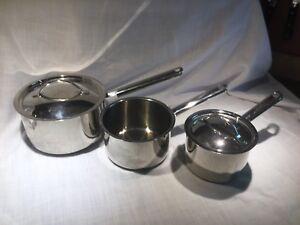 Three Stainless Steel Cuisinart Sauce Pans