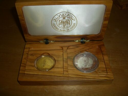 Hashemite Kingdom Of Jordan 2000 Silver Gold Coins Set Baptism King Abdullah II