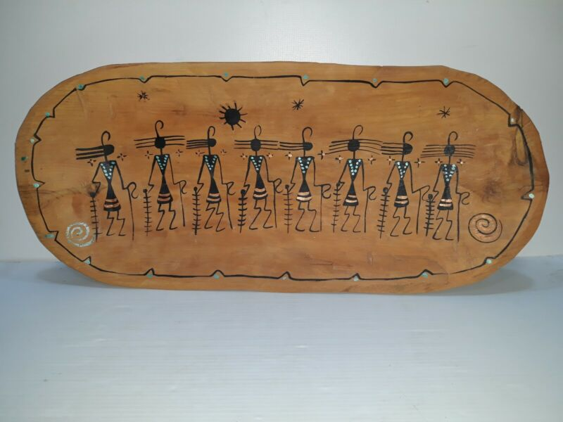 "Trencher Dough Bowl by Zuni Artist C.J Prophet 22""x10""  has a beautiful design"