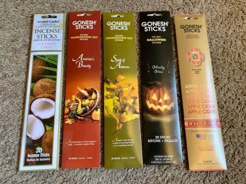 LOT of Gonesh 110 Sticks Incense 5 Packs Halloween Thanksgiving Apple Cider ++