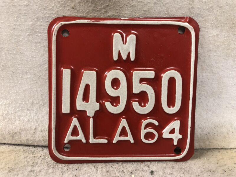 Vintage 1964 Alabama Motorcycle License Plate