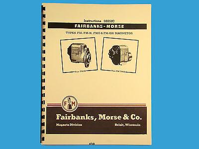 Fairbanks Morse Magneto Instruct Parts Manual For Fm Fm-h Fmo Fm-oh 430