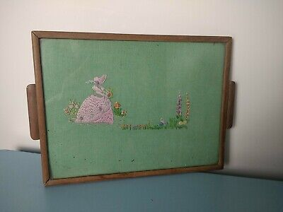 Vintage Crinoline Lady Embroidered Green Dressing Table Tray Glass Wooden Framed
