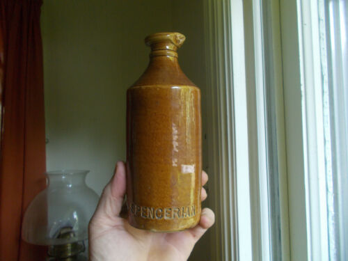 SPENCERIAN EMB BROWN STONEWARE POUR SPOUT MASTER INK BOTTLE DUG IN 1870 IL PRIVY