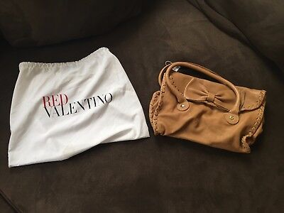 RED VALENTINO BEIGE TAN LEATHER BOW FRONT CLASP HANDBAG NEW WITH TAGS
