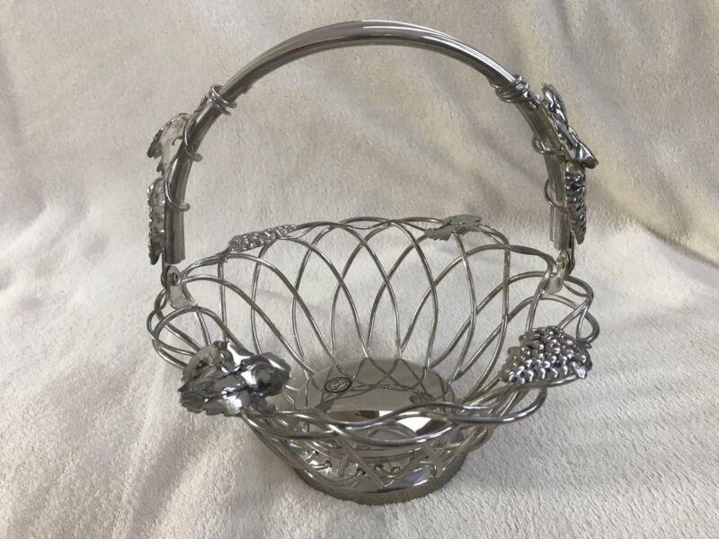 Vintage Godinger Fruit Bread Basket Bowl Silver Art Co. Ltd. with Handle