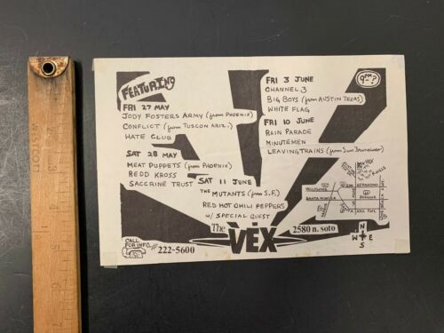 VERY RARE 1983 RED HOT CHILI PEPPERS FLYER 10TH SHOW EVER MUTANTS @ VEX PUNK