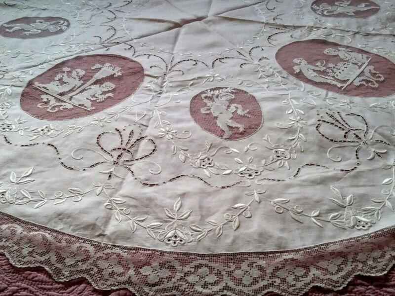 "Amazing Cherub Angel Italian Filet Lace Cutwork Embroidered Linen Tablecloth 52"""