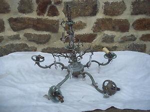 Lustre ancien en bronze et laiton avec personnage a pampilles - Lustre a pampilles ancien vendre ...