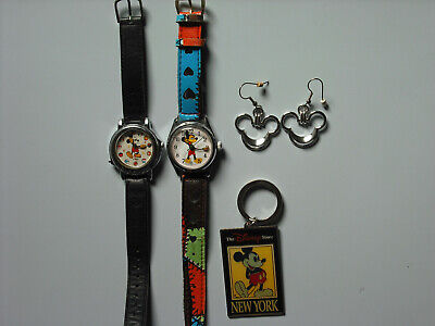 Mickey Mouse Lot: two vintage watches, earrings, keychain