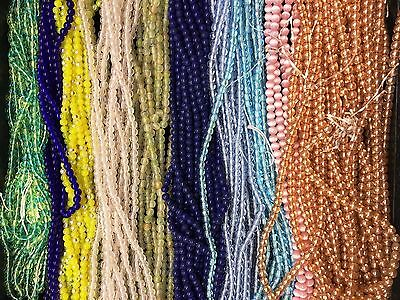 """TWO (2) 16""""  STRANDS 4mm Round Czech Glass Beads - """"Druks"""" - Many Colors"""