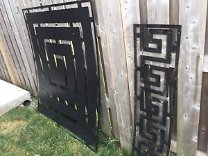 Black steel powder coated decorative fence inserts