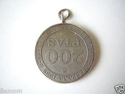 Anhänger Spanien Münze Peseten (1998) 200 Ptas 925 Sterling Silber Rand 12,1 g