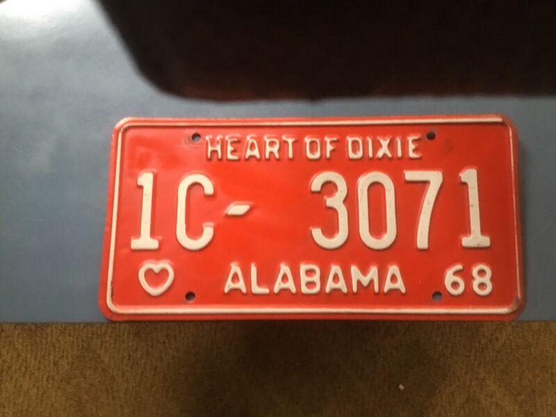 Alabama Car Tags 1968