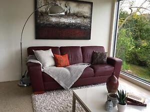 Demir burgundy leather 3 seater Phegans Bay Gosford Area Preview