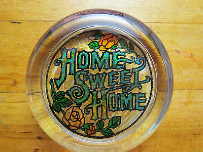 Vintage Paperweight Glass Home Sweet Home Green Tan Nice Colors Metallic