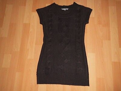 Damen Strick Long Pullover Minikleid Gr.S Braun kurzarm ()