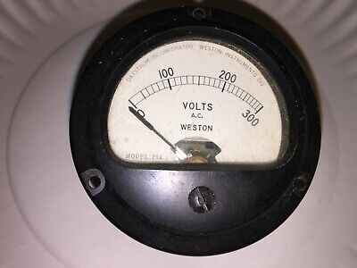 Vintage Weston Panel Meter Volts Ac Model 204 0 - 300 Volts Free Shipping