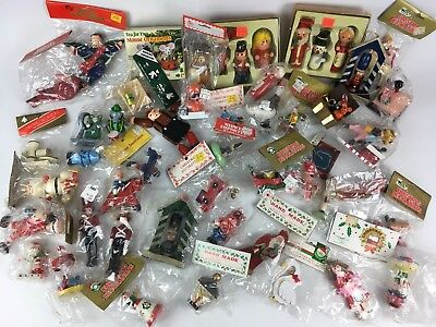 50 Pc Lot Wooden Mini Christmas Ornaments VTG 1980s Hand Painted Handmade Retro