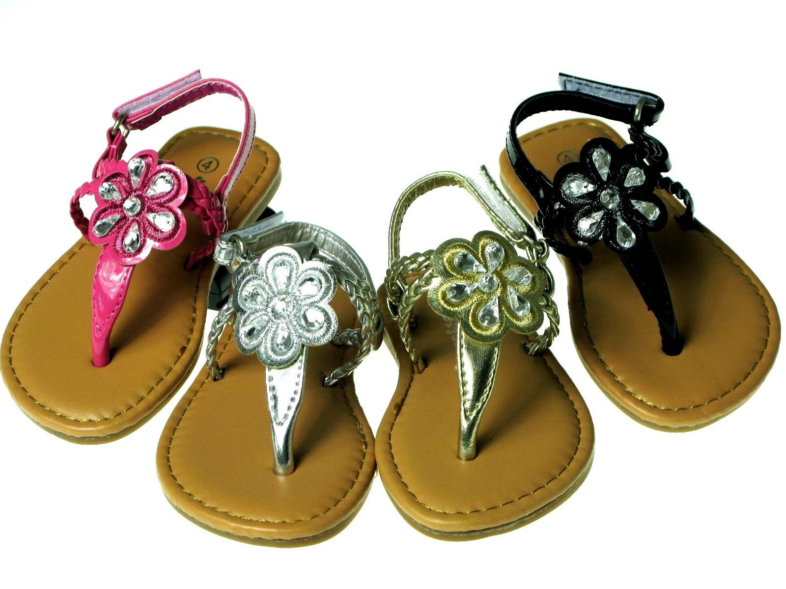 Hot New Baby Toddler Girls Adorable Sandals Size 1 12 Black Silver Gold Pink Ebay