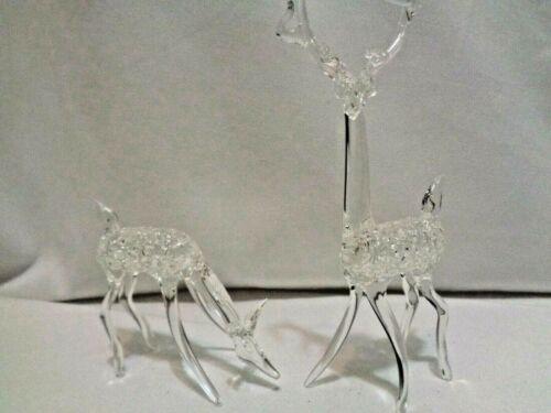 Vintage Blown Glass Crystal Clear Reindeer Deer Figurines Antlers 2 pc