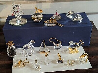 Swarovski Crystal Figurines 19 Boat Bear Frog Baby Squirrel and more Mint