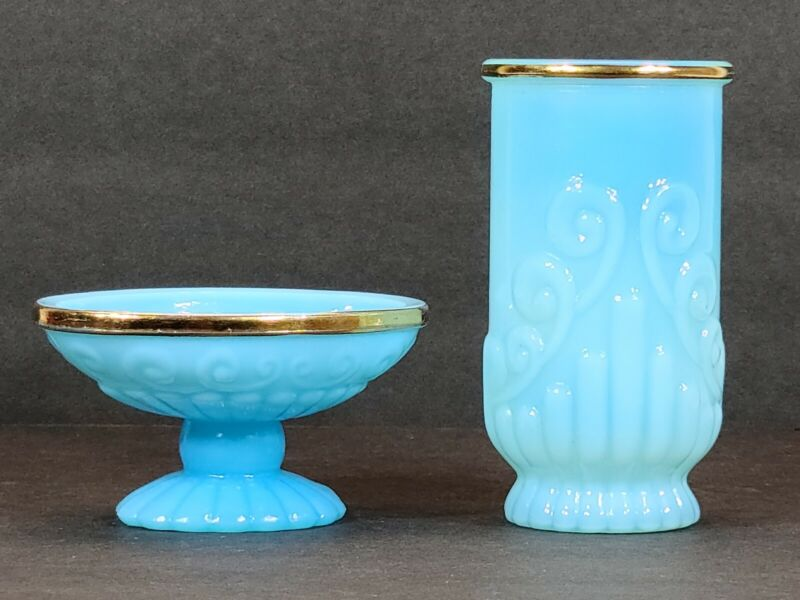 Vintage Avon Blue/Aqua Milk Glass Soap Dish And Cup With Gold Rim