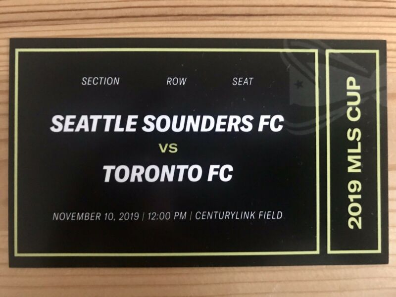 Seattle Sounders Toronto FC MLS Cup Ticket