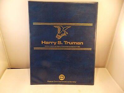 Vtg Harry S Truman 100th Anniversary Commemorative Folio Stamp Folder w/Cert of