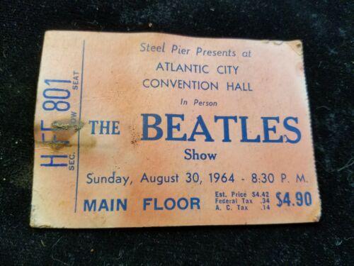 Original Vintage 1964 The Beatles Atlantic City Conventional Hall Ticket Stub
