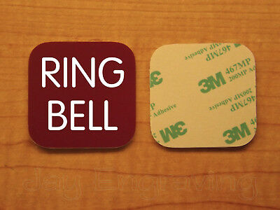 Engraved 3x3 RING BELL Plastic Tag Sign Plate   Doorbell Plaque   Any Color!