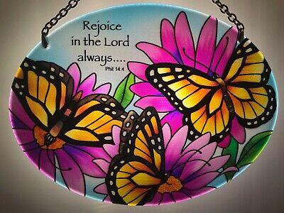 Joan Baker Stained Glass Art Suncatcher-MO136-Monarch Butterflies Window Hanger - Stained Glass Monarch Butterfly