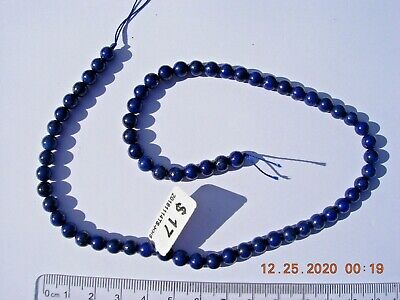 Lapis Lazuli beads 6mm sphere shaped natural color 15.5 inch strand