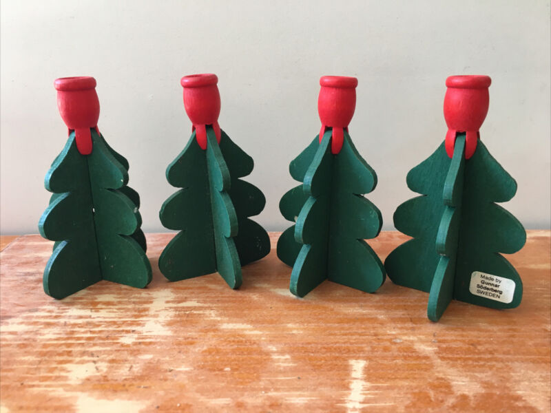 Swedish Set of Four Christmas Tree Wooden Candle Holders by Gunnar Söderberg