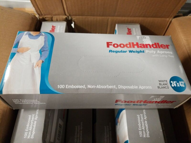 FoodHandler Regular Weight Poly Aprons with Long Ties