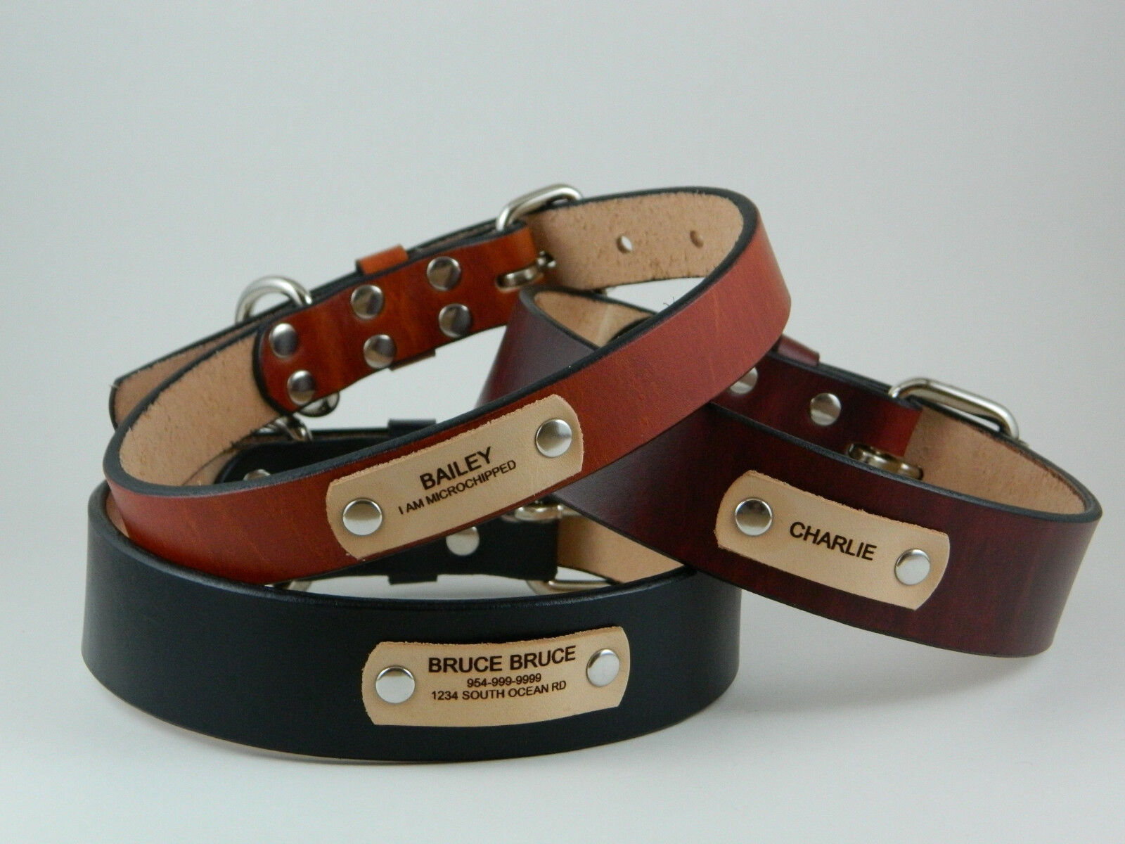 """1"""", 1 1/4"""", 1 1/2"""" Full Grain Leather Dog Collar with Free L"""