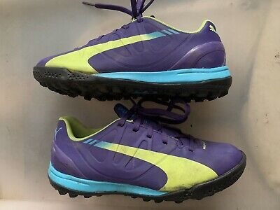 Puma EvoSpeed 4.3 Purple Blue Yellow AstroTurf Football Boots Trainers UK Size 1