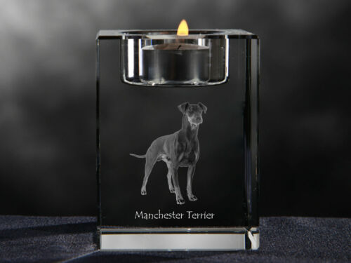 Manchester Terrier, crystal candlestick with dog, souvenir, Crystal Animals CA