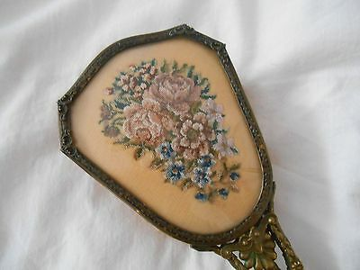 Vintage Petit Point Embroidery Vanity Dressing Table Brush