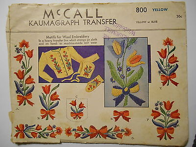 Vintage McCalls Kaumagraph Transfer for WOOL Embroidery TULIPS Flower Motifs