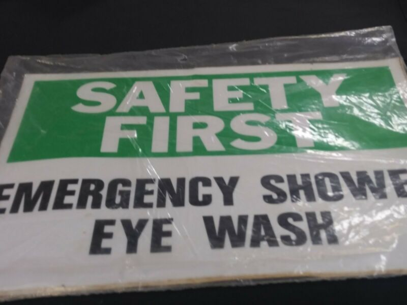SAFETY FIRST EMERGENCY SHOWER EYE WASH SIGNS 4 FOR SALE