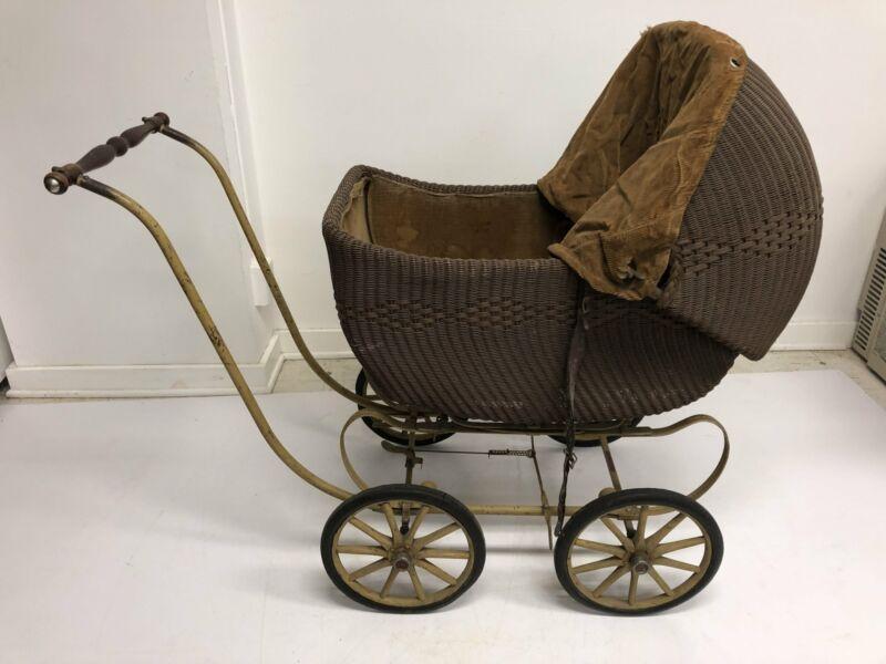 Vintage WICKER STROLLER Heywood Wakefield pram antique carriage baby doll buggy