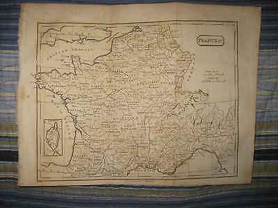 SUPERB ANTIQUE 1809 FRANCE MAP FINE CONDITION WINE REGION INTEREST PARIS CORSICA France Wine Region Map