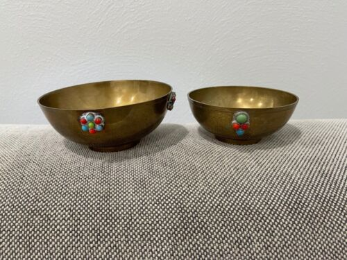Vintage Asian Indian India Pair of Small Brass Bowls w/ Turquoise & Coral Stones