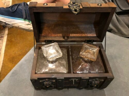 Whiskey Glass Decanter Set  Wood Chest Vintage