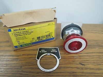 Square D 9001kr9r Pushpull Operator Maintained Red Lens W Legend New Surplus