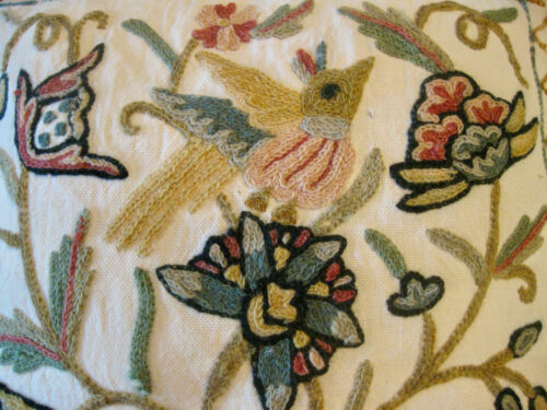 +18th C. Design Crewel Pillow Completed Finished Floral Indian Linen Needlework+